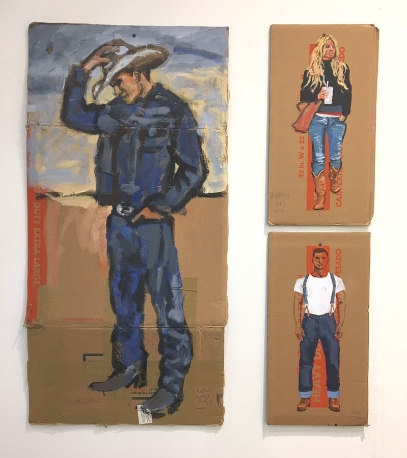 Walter Robinson paintings, acrylic on cardboard, WRANGLER COWBOY CUT, JESSICA, and LEVIS 1915 501 JEANS