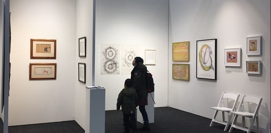 ART ON PAPER 2017 at Pier 36 NYC, John Molloy Gallery Booth, picture from L to R: Native American Plains Ledger drawings, amd works on paper by Ben Morea, Larissa Nowicki, Robert Natkin, Basil King, and Tony Fitzpatrick