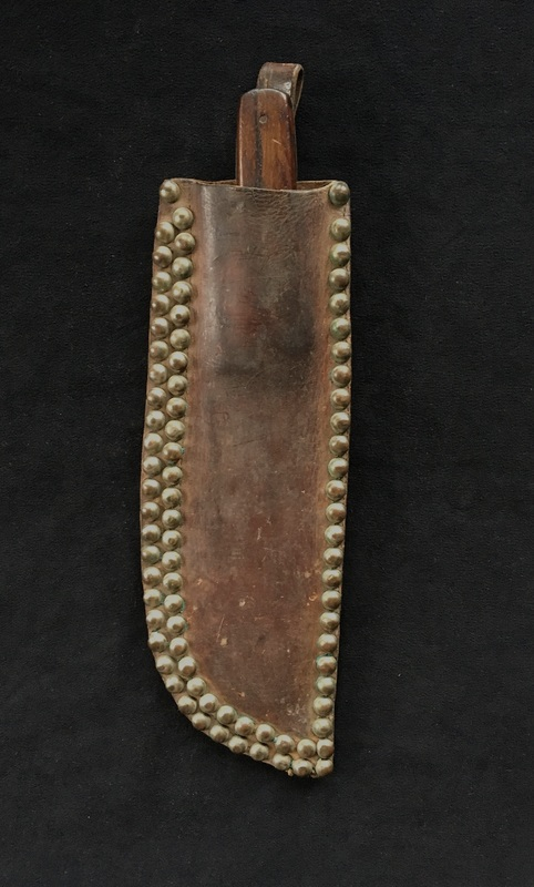Northern Plains tacked knife case with brass shank tacks